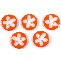 Splat Daisy Flower Round 2 Hole Buttons 17mm Orange Pack of 5
