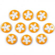 Splat Daisy Flower Round 2 Hole Buttons 17mm Pale Orange Pack of 10