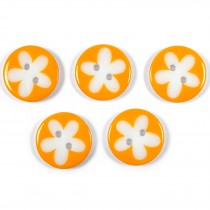 Splat Daisy Flower Round 2 Hole Buttons 17mm Pale Orange Pack of 5