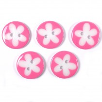 Splat Daisy Flower Round 2 Hole Buttons 17mm Pale Pink Pack of 5