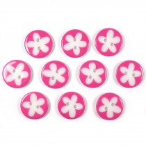 Splat Daisy Flower Round 2 Hole Buttons 12mm Pink Pack of 10