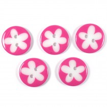 Splat Daisy Flower Round 2 Hole Buttons 17mm Pink Pack of 5