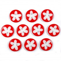 Splat Daisy Flower Round 2 Hole Buttons 17mm Red Pack of 10