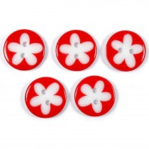 Splat Daisy Flower Round 2 Hole Buttons 17mm Red Pack of 5
