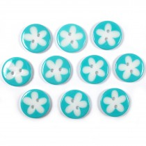 Splat Daisy Flower Round 2 Hole Buttons 12mm Turquoise Pack of 10
