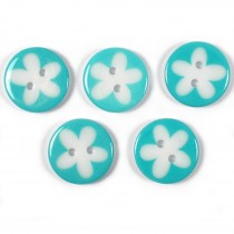 Splat Daisy Flower Round 2 Hole Buttons 17mm Turquoise Pack of 5