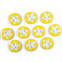 Splat Daisy Flower Round 2 Hole Buttons 17mm Yellow Pack of 10