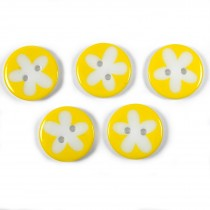 Splat Daisy Flower Round 2 Hole Buttons 17mm Yellow Pack of 5
