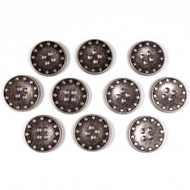 Metal Star Rim 4 Hole Round Buttons 18mm Silver Pack of 10