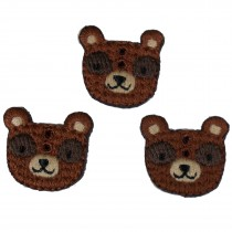 Stiff Felt Knit Woodland Animal Buttons 23mm Knit Bear Pack of 3
