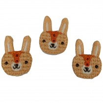Stiff Felt Knit Woodland Animal Buttons 25mm Knit Bunny Pack of 3