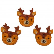Stiff Felt Knit Woodland Animal Buttons 25mm Knit Deer Pack of 3