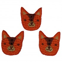 Stiff Felt Knit Woodland Animal Buttons 23mm Knit Fox Pack of 3