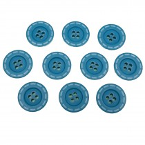 Stitched Edge Effect 4 Hole Buttons 17mm Aqua Blue Pack of 10