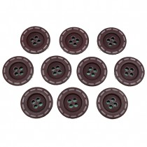 Stitched Edge Effect 4 Hole Buttons 17mm Dark Brown Pack of 10
