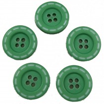 Stitched Edge Effect 4 Hole Buttons 17mm Dark Green Pack of 5