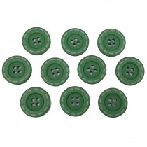 Stitched Edge Effect 4 Hole Buttons 17mm Dark Green Pack of 10