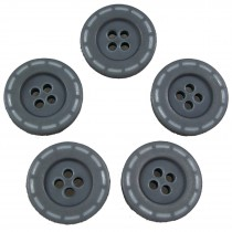 Stitched Edge Effect 4 Hole Buttons 17mm Grey Pack of 5