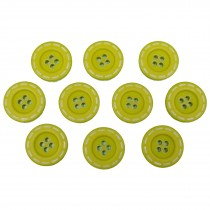 Stitched Edge Effect 4 Hole Buttons 17mm Light Green Pack of 10