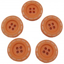 Stitched Edge Effect 4 Hole Buttons 17mm Orange Pack of 5