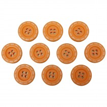 Stitched Edge Effect 4 Hole Buttons 17mm Orange Pack of 10