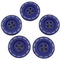 Stitched Edge Effect 4 Hole Buttons 17mm Purple Pack of 5