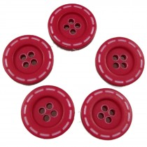 Stitched Edge Effect 4 Hole Buttons 17mm Red Pack of 5