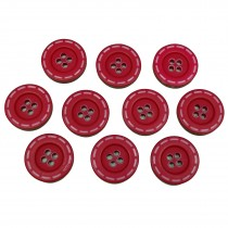 Stitched Edge Effect 4 Hole Buttons 17mm Red Pack of 10