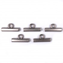 Metal T Bar Buttons 15mm Silver Pack of 5