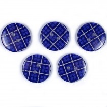 Tartan Checked Squares Round 2 Hole Buttons 20mm Dark Blue Pack of 5