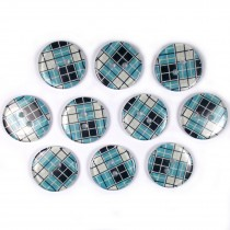 Tartan Checked Squares Round 2 Hole Buttons 15mm Pale Blue Pack of 10