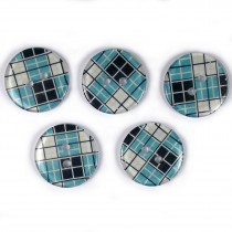 Tartan Checked Squares Round 2 Hole Buttons 15mm Pale Blue Pack of 5