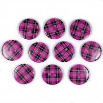 Tartan Checked Squares Round 2 Hole Buttons 15mm Pink Purple Pack of 10