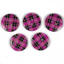 Tartan Checked Squares Round 2 Hole Buttons 15mm Pink Purple Pack of 5