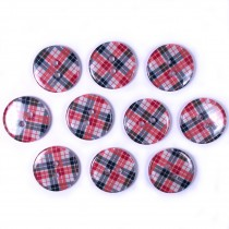 Tartan Checked Squares Round 2 Hole Buttons 15mm Red Pack of 10