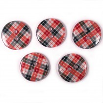 Tartan Checked Squares Round 2 Hole Buttons 15mm Red Pack of 5