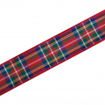 Berisfords Tartan Plaid Polyester Ribbon 40mm wide Royal Stewart 1 metre length