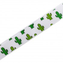 Tropical Print Grosgrain Ribbon 16mm Wide Cactus 1 metre length