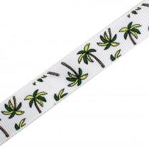 Tropical Print Grosgrain Ribbon 16mm Wide Palm Trees 2 metre length