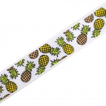 Tropical Print Grosgrain Ribbon 16mm Wide Pineapple 1 metre length