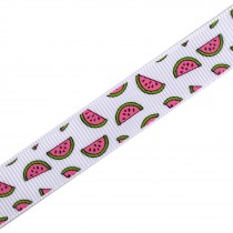 Tropical Print Grosgrain Ribbon 16mm Wide Watermelon 1 metre length