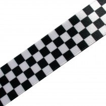 Black & White Chequered Flag Satin Ribbon - Two-Tone Ska - 15mm wide 1 metre length