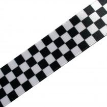 Black & White Chequered Flag Satin Ribbon - Two-Tone Ska - 25mm wide 1 metre length