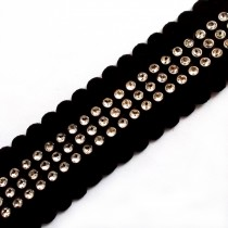 Black Velvet Diamante Trim 3 Row 2cm 1 metre length