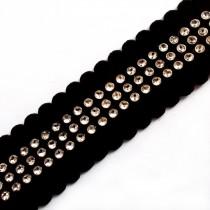Black Velvet Diamante Trim 3 Row 2cm 2 metre length