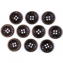 Victorian Style Metal Spoke Buttons 28mm Bronze Pack of 10