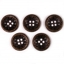 Victorian Style Metal Spoke Buttons 28mm Bronze Pack of 5