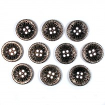 Victorian Style Metal Spoke Buttons 22mm Silver Pack of 10