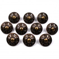 Vintage Style Metal Filigree Buttons 15mm Bronze Pack of 10