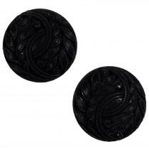 Vintage Style Plant Leaf Design Buttons 20mm Black Pack of 2